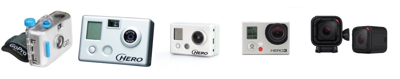 Die GoPro Meilensteine: HERO 35mm, Digital HERO 1, HD HERO1, HERO3, HERO4 Session
