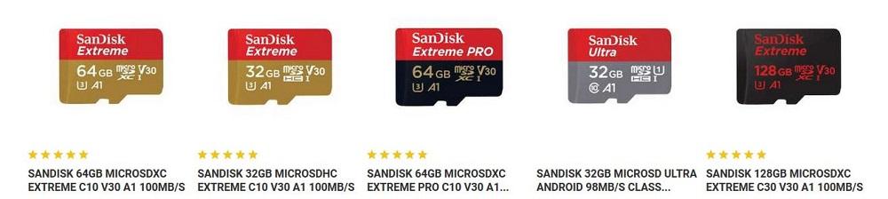 SanDisk Speicherkarten für GoPro
