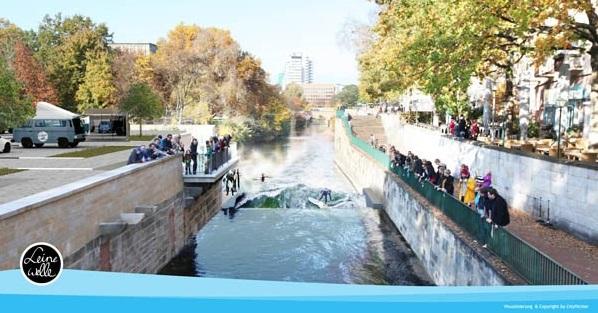 Das Projekt Leinewelle will die stehende Welle am Hohen Ufer