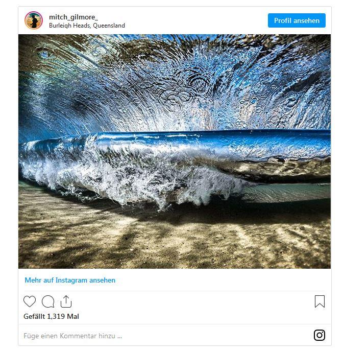 Mitch Gilmore benutzt eine GoPro für Wellenfotos