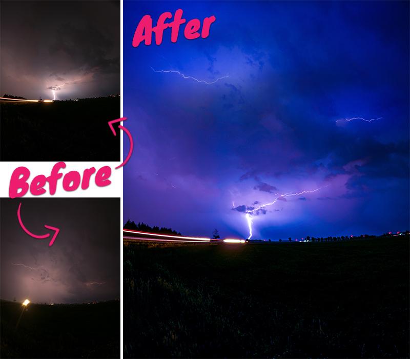 Blitze am Nachthimmel mit GoPro perfekt aufgenommen und bearbeitet